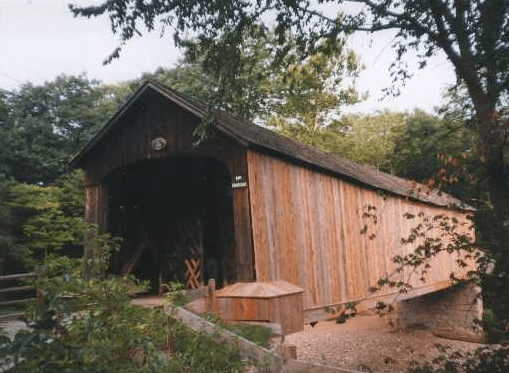 New White Cedar Siding on Covered Bridge